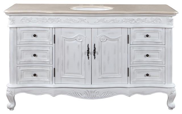 """Della Bathroom Vanity With Marfil Top, 60""""."""