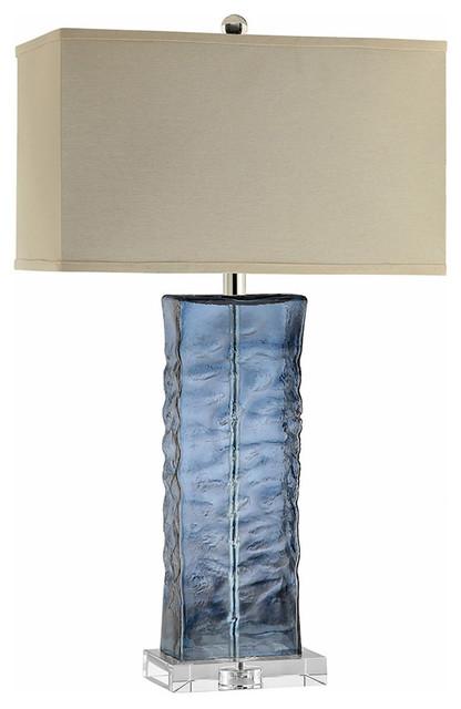 """Khartoum Table Lamp 11"""" Blue Clear Glass Crystal 1-Light."""
