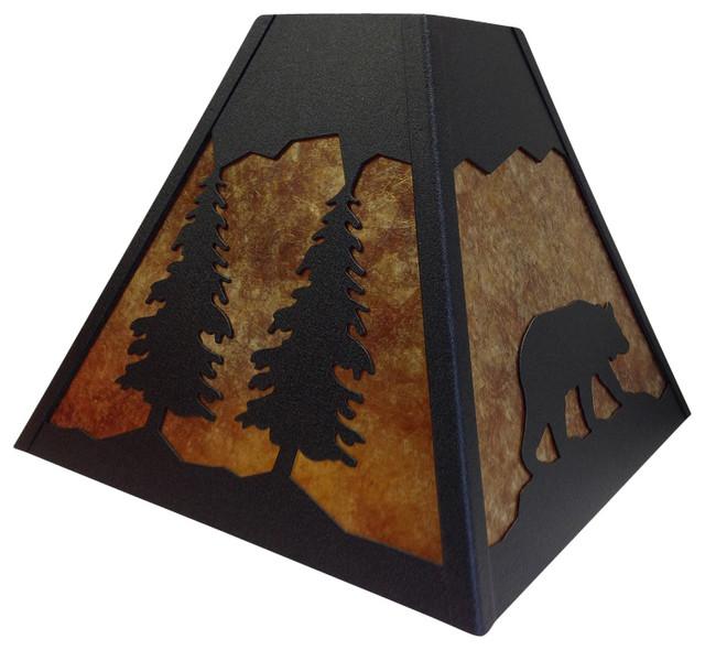 Rustic Square Bear Handmade Lamp Shade- Black- Amber Mica - Rustic ...