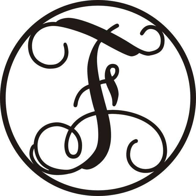 "19.5"" Sheet Metal Monogram Letters, Circle F."