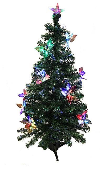 Pre-Lit Fiber Optic Artificial Christmas Tree With Flowers, Multi Lights, 3'