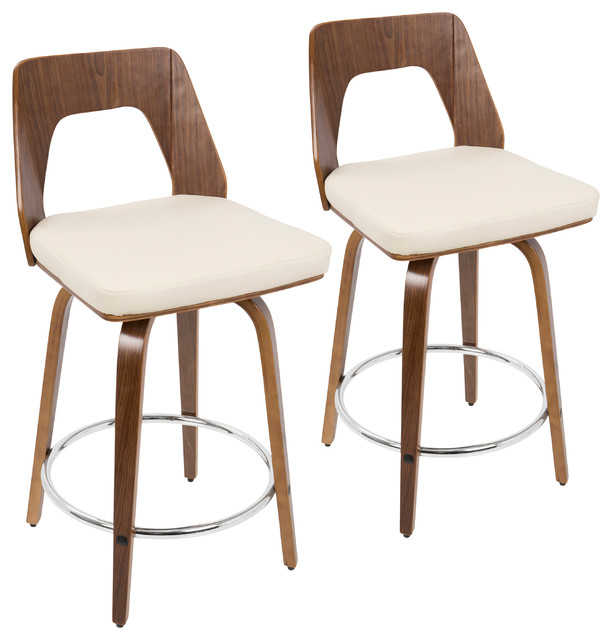LumiSource Trilogy Counter Stools, Set of 2, Walnut and Cream PU Leather