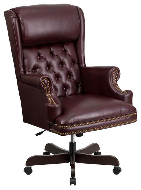 Flash Furniture Burgundy Leather Executive Swivel Chair.