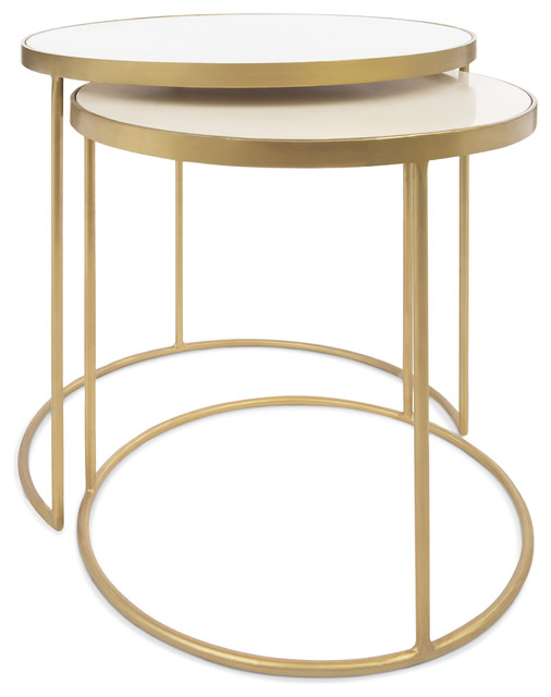 1c0e397193 Cecil Marble and Brass Nesting Tables, Set of 2 - Contemporary - Side Tables  And End Tables - by Houzz