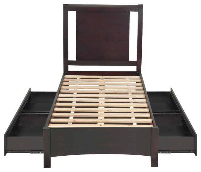 Nevis King Low Profile Storage Bed, Espresso.
