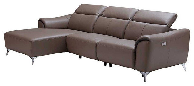 950 Leather Sectional Sofa with Electric Recliner in Brown, Left Facing  Chaise