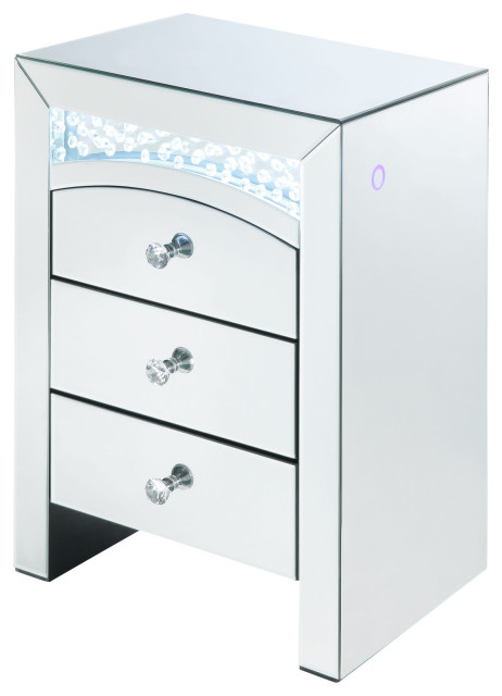 Mirrored Bedside Table With Drawers: Mirrored Wooden Night Table With 3 Storage Drawers And