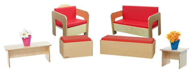 Excellent Childrens Furniture Set Of 6 Witih Red Cushions Pdpeps Interior Chair Design Pdpepsorg