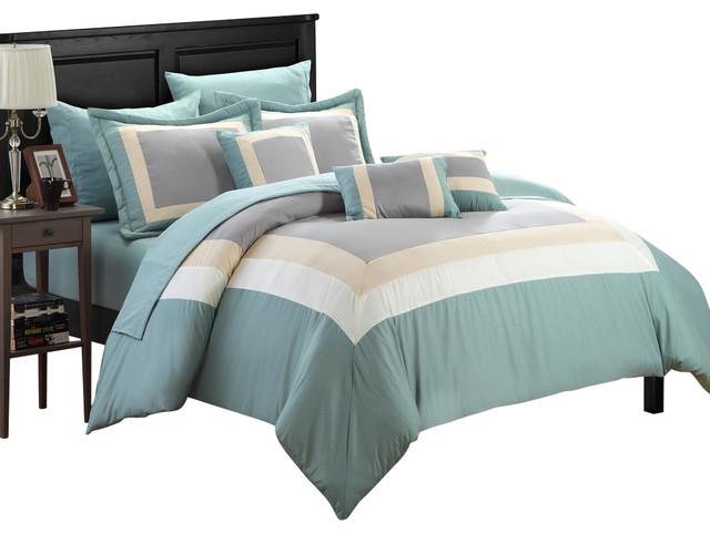 Chic Home Duke Green, Beige & Gray King 10 Piece Comforter
