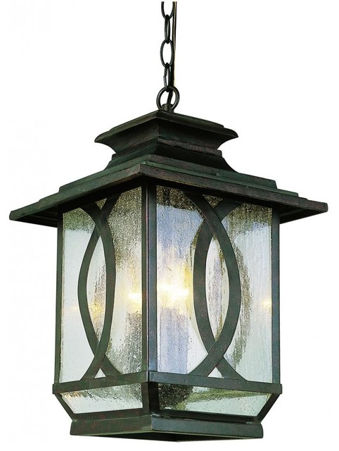 Three Light Burnished Rust Clear Seeded Glass Hanging