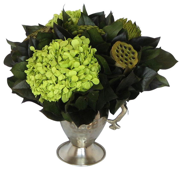 Mini Pewter Trophy Vase, Lotus Pods, Banksia Green And Basil Hydrangea  Traditional Artificial Part 76