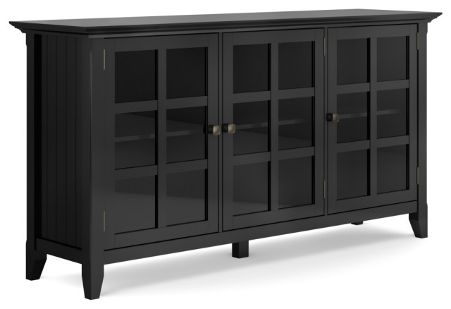 Acadian Solid Wood Wide Storage Cabinet, Black