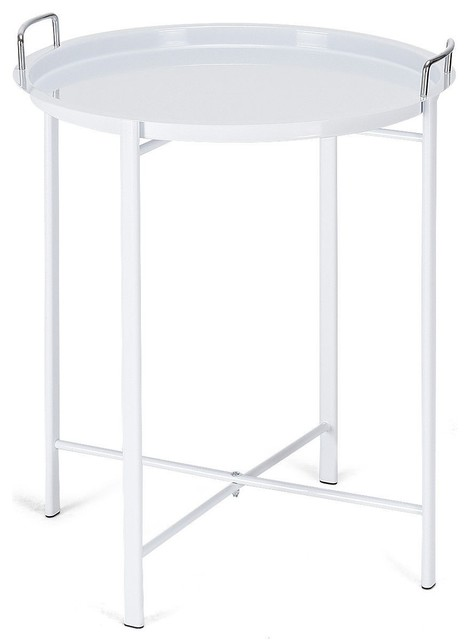 Round Metal Tray Side End Table White