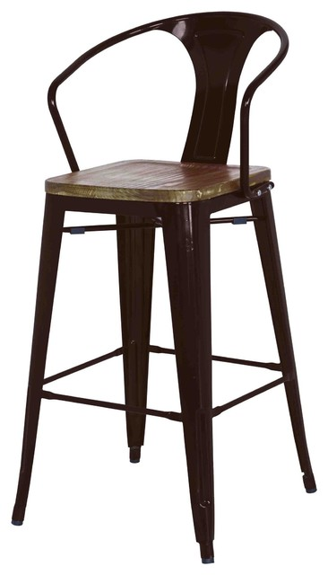 Lovely Grand Metal Counter Chairs, Black, Set Of 4 Industrial Bar Stools