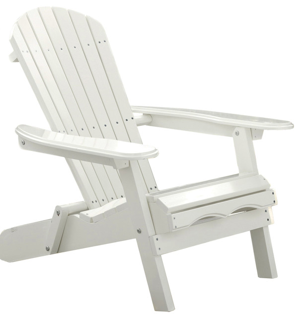 Simple Acacia Adirondack Chair, White Painted   Traditional   Adirondack  Chairs   By Merry Products