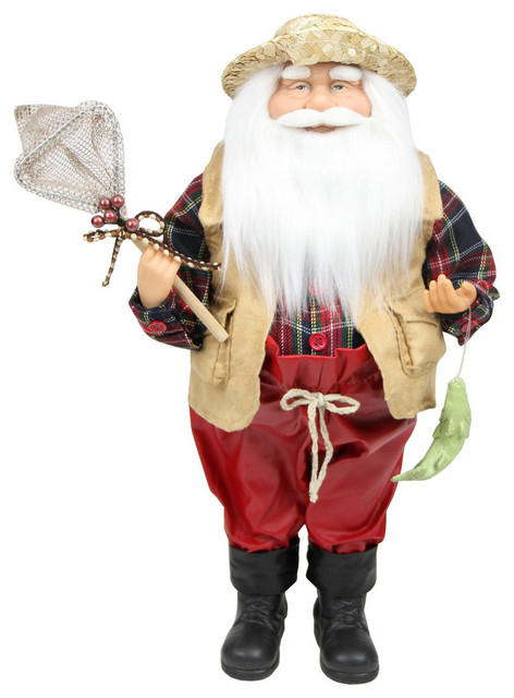 "18"" Rustic Lodge Fisherman Santa Claus With Net And Fish Tabletop Decoration."