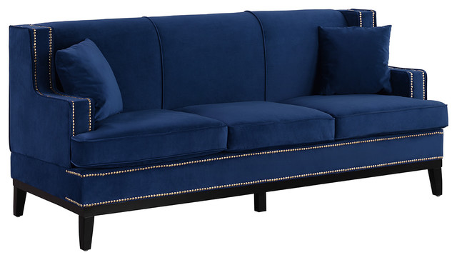 Classic Velvet Sofa Nailhead Trim Accent Living Room, Blue