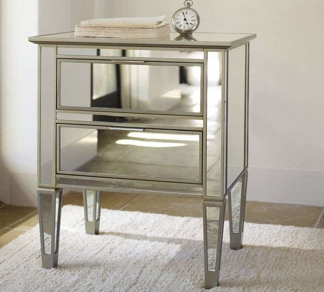 Park Mirrored Bedside Table Contemporary Nightstands