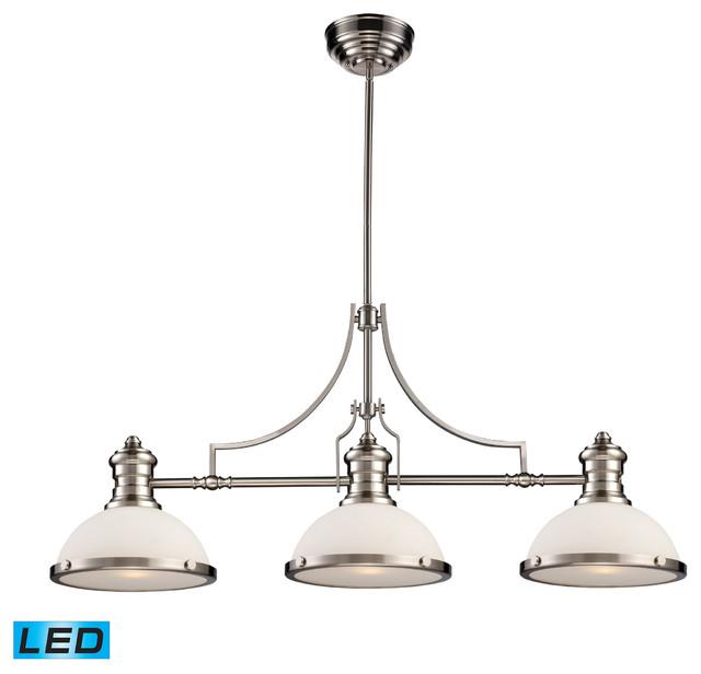 Elk Lighting Chadwick 3-Light Billiard, Gloss White And