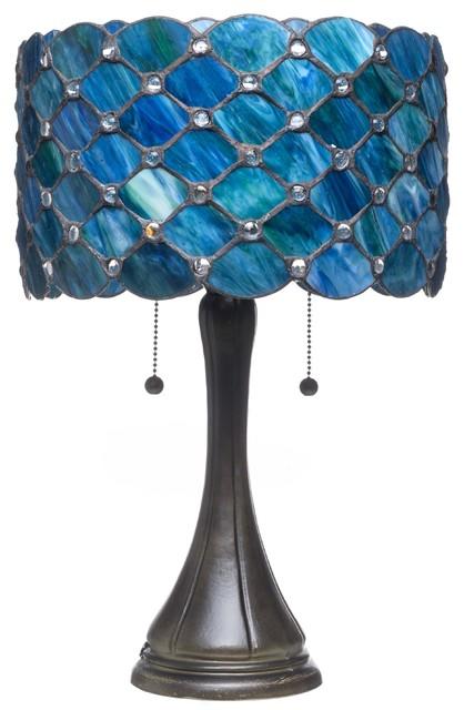 """Serena D&x27;italia Contemporary Tiffany 2-Light Blue Jeweled 22"""" Table Lamp."""
