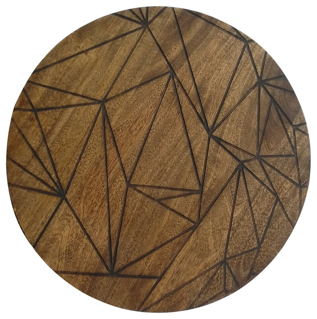 Renwil Greene Modern Mango Wood Wall Decor With Etching.