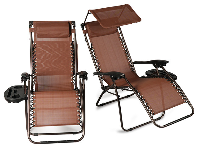 Zero Gravity Reclining Lounge Chair With Canopy Top, Set Of 2, Brown