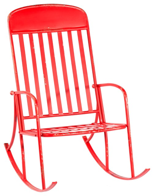 CBK Iron Distressed Red Rocking Chair 130950 by CBK