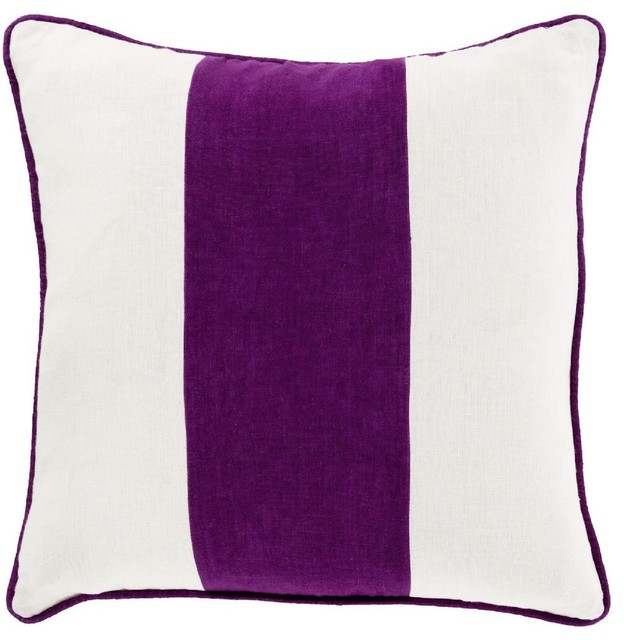 Solid Purple Decorative Pillows : Solid/Striped Linen Stripe Decorative Pillow - Contemporary - Decorative Pillows - by RugPal
