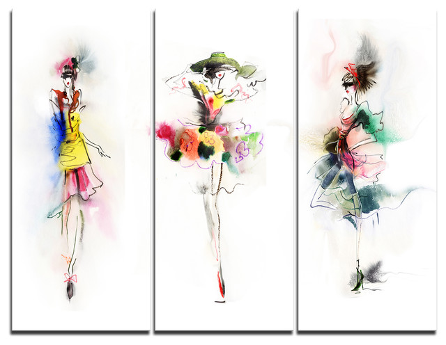 """fashion Girls Posing"" Canvas Art Print, 3 Panels, 36""x28""."