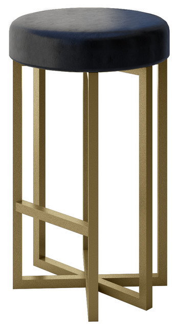 Bowie Luxury Modern Accent Stool Gold Finish Black Leather