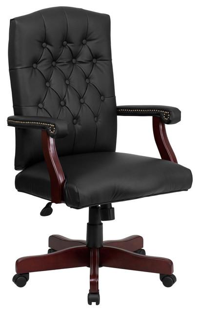 "Martha Washington Leather Executive Swivel Office Chair, Black, 33""x33""x43.50""."
