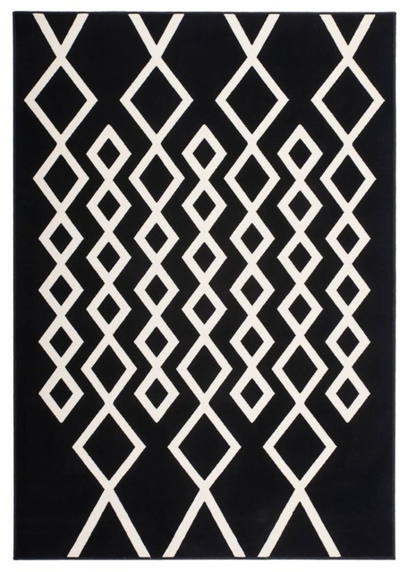 Lina Low-Pile Area Rug, Black and Ivory, 80x300 cm