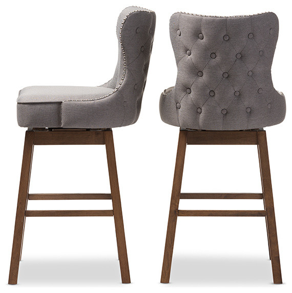 Gradisca Brown Wood And Tufted Swivel Barstool Set Of 2 Midcentury Bar Stools Counter By Baxton Studio