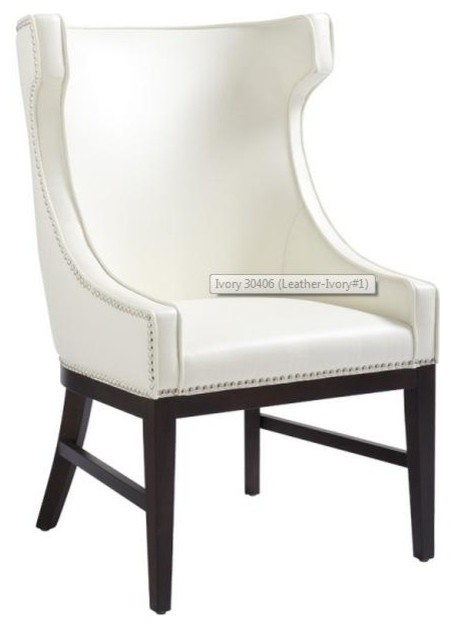 Shop houzz artefac wing back leather dining chair for Leather wingback dining chair