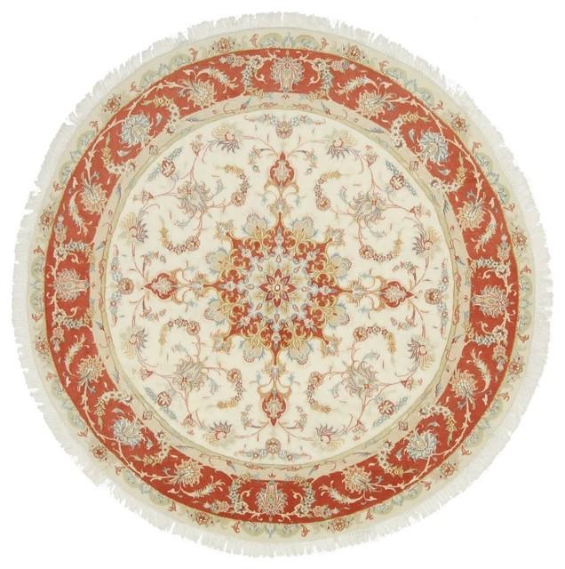 Tabriz 50Raj Oriental Rug, Round Hand-Knotted, 200x200 cm