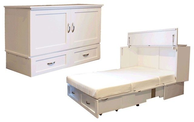 Country Style Queen Cabinet Bed Antique White (Murphy Bed) by CabinetBed - Transitional - Murphy ...
