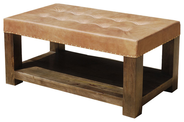 Solid Wood Leather Upholstered Coffee Table Bench Tables