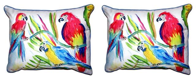 Pair of Betsy Drake Three Parrots Small Pillows 11X 14