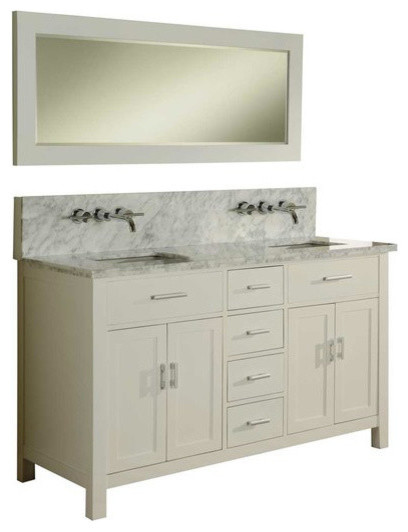Hutton Spa Double 63 Pearl White Vanity Carrara Marble Top