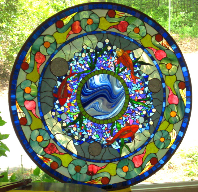 Koi Pond Round Eclectic Dc Metro By Mclean Stained Glass Studios