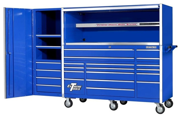 Blue 17-Drawer Tool Cabinet, Triple Bank Hutch and Side Cabinet ...