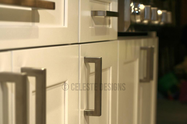 Square Bar Pulls on White Kitchen Cabinets by Celeste Designs ...