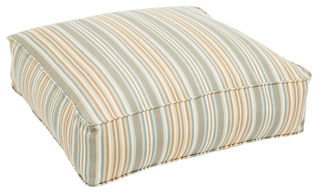 Preston Sunbrella Outdoor Floor Pouf, Blue And Tan Striped.