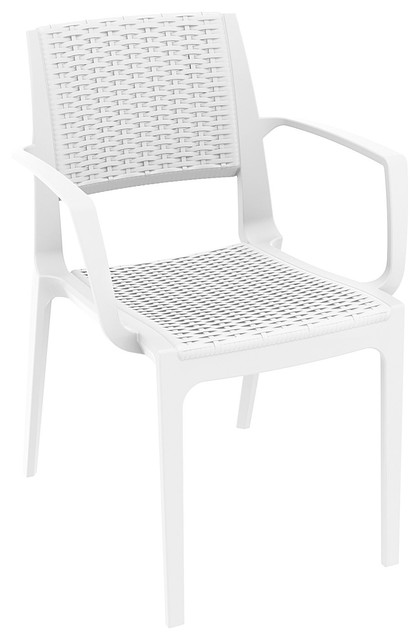 Capri Resin Wickerlook Stacking Patio Arm Chairs Set of 4 Outdoor Lounge C