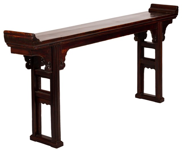 Nice Chinese Hardwood Altar Table W/ Everted Flanges Asian Console Tables