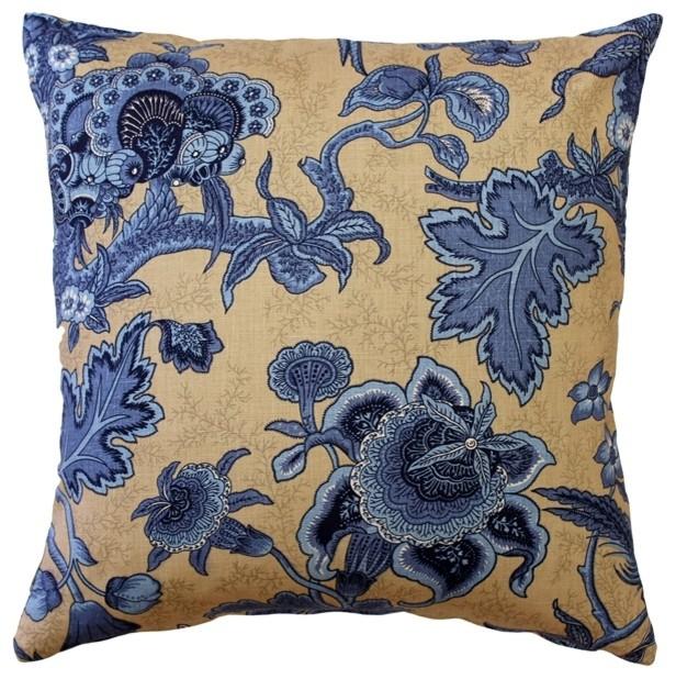Pillow Decor - Tuscany Linen Brewood Blue Throw Pillow 20x20.