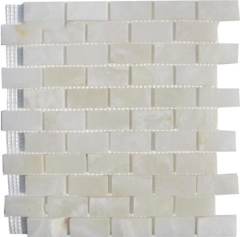 12 X12 White Onyx Brick Pattern Polished Finish Mosaic Full Sheet Sample
