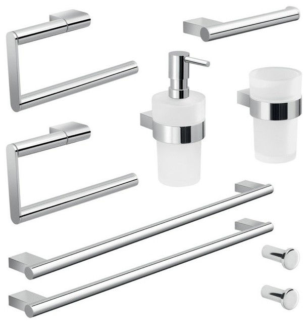 contemporary bathroom hardware gedy wall mounted chrome hardware set amp reviews houzz 12444