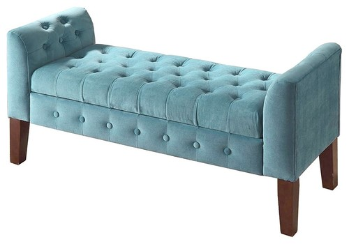 Traditional Storage Bench, Tufted Velvet Upholstery and Wood Legs, Teal