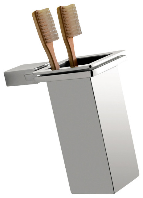 Wall Mounted Square Polished Chrome Toothbrush Holder